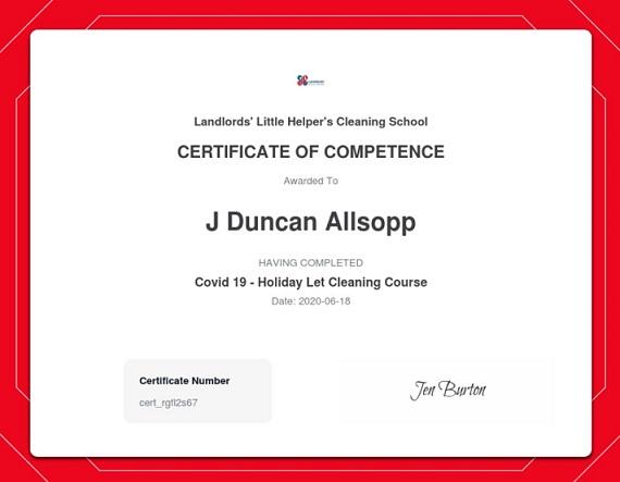 landlords little helper certificate